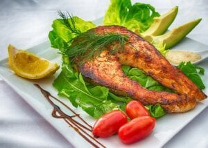 Grilled salmon and salad diet for psoriasis sufferers